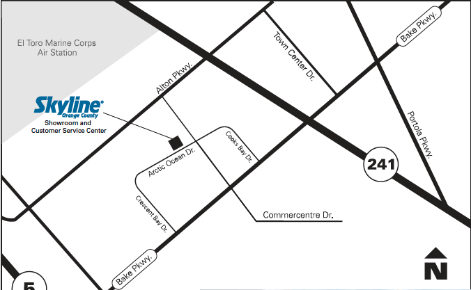 Map to Skyline Orange County
