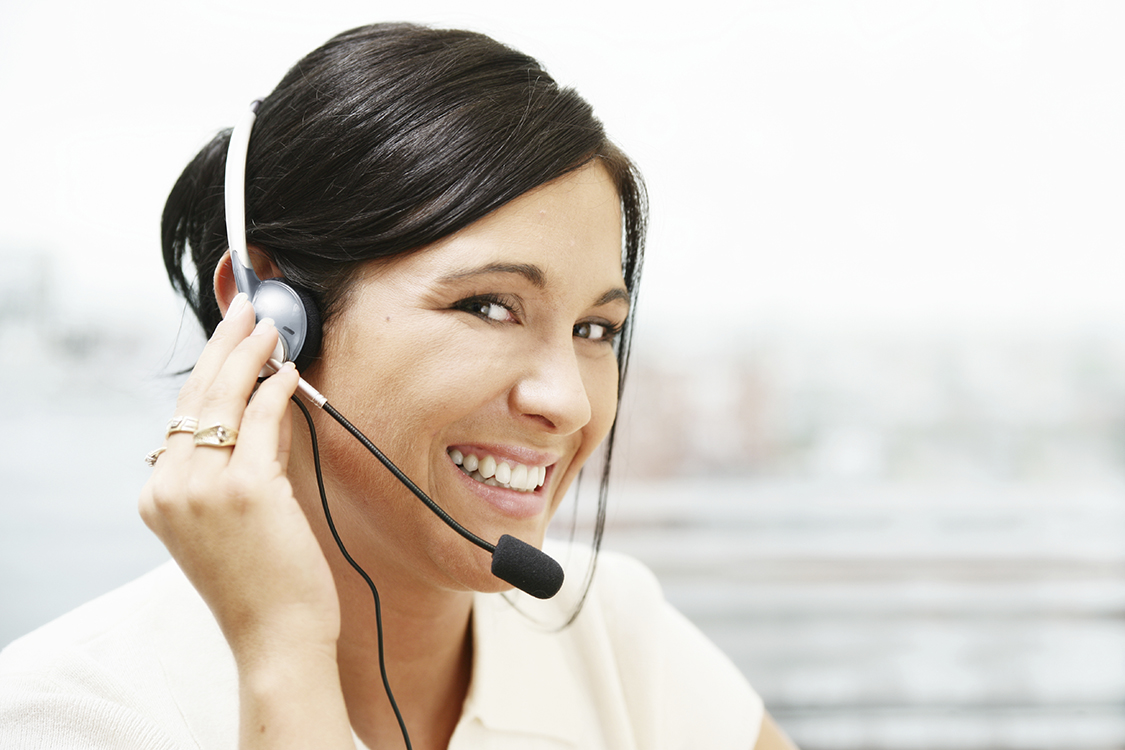 Receptionist with headset