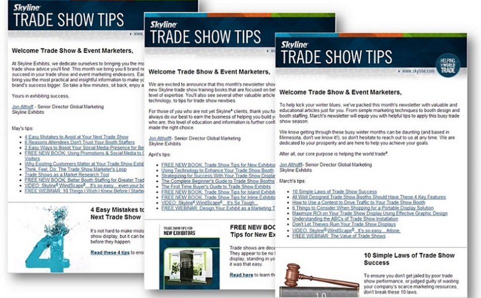 Trade Show Tips newsletter trade show education and training