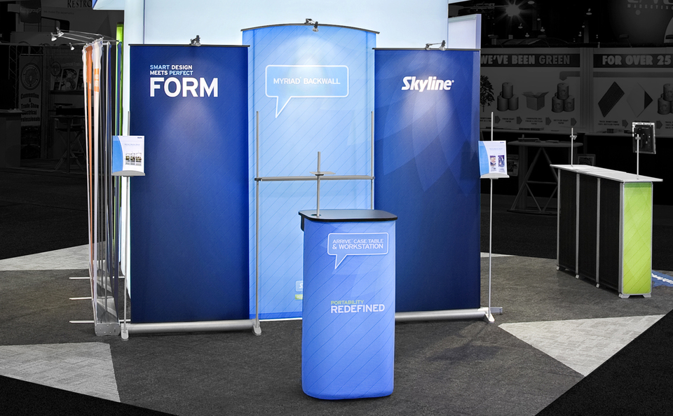 Trade Banner Stands : Portable banner stand arrive system