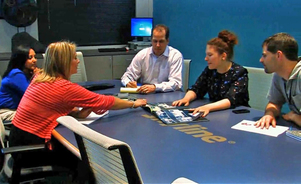 Skyline Exhibits Conference Room Meeting with Customers about their Las Vegas Trade Show Program
