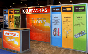 trade show display backwalls and towers - quick, easy installation