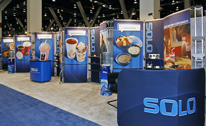 trade show display backwalls and towers - custom rental exhibits
