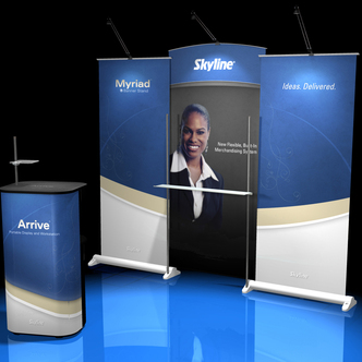 Skyline Arrive Banner Stand and Case Table Display