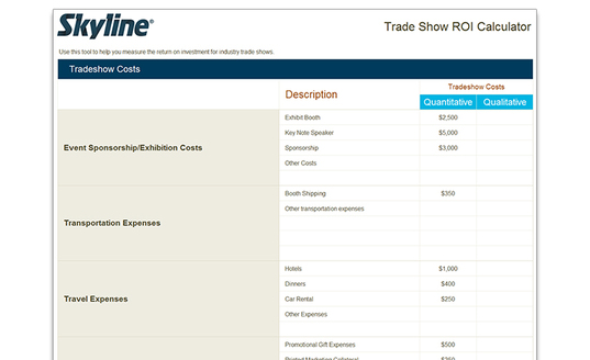 tradeshow roi investment calculator free tools