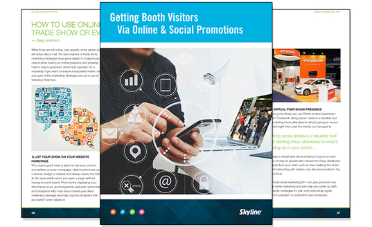 tradeshow whitepaper skyline booth visitors social media online exhibiting