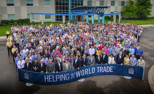 The Skyline team outside its headquarters in Minneapolis, Minnesota