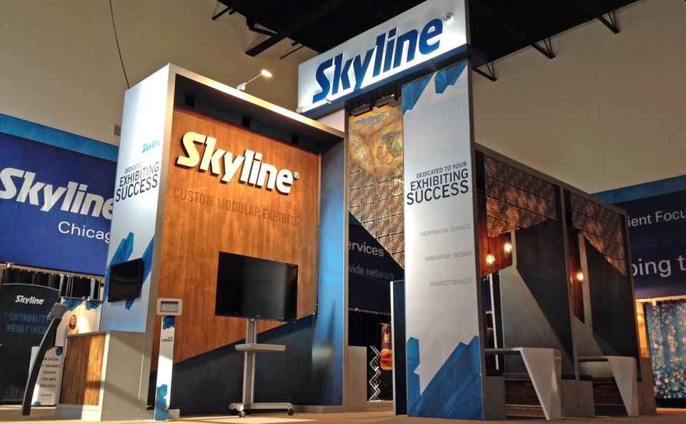 Skyline Exhibits Chicago Custom Modular Trade Show Exhibit in Showroom Located in McCook, IL