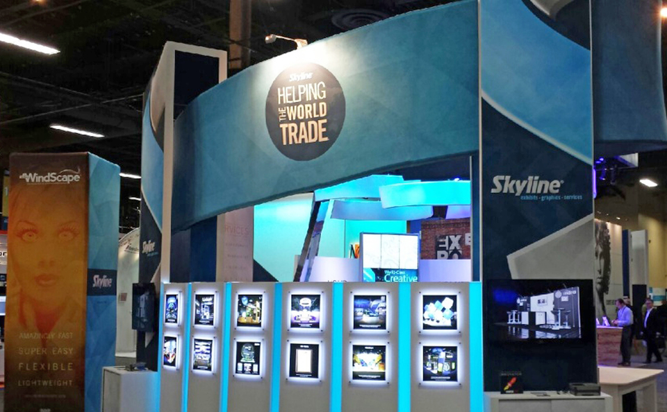 Skyline Exhibits Innovative Trade Show Booth Design for the Exhibitor Show in Las Vegas, NV in 2014