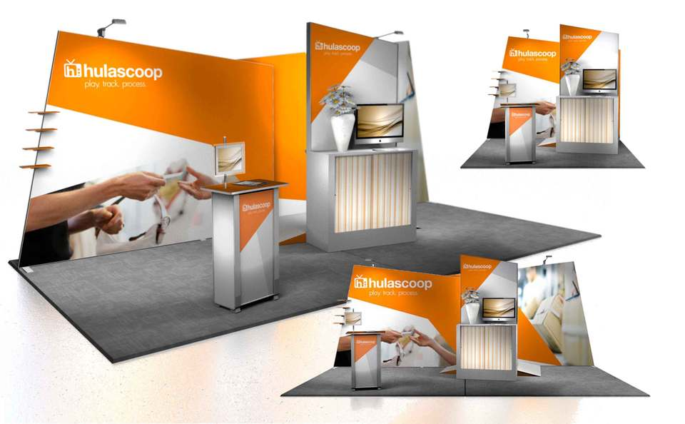 Skyline Los Angeles HulaScoop trade show booth rendering