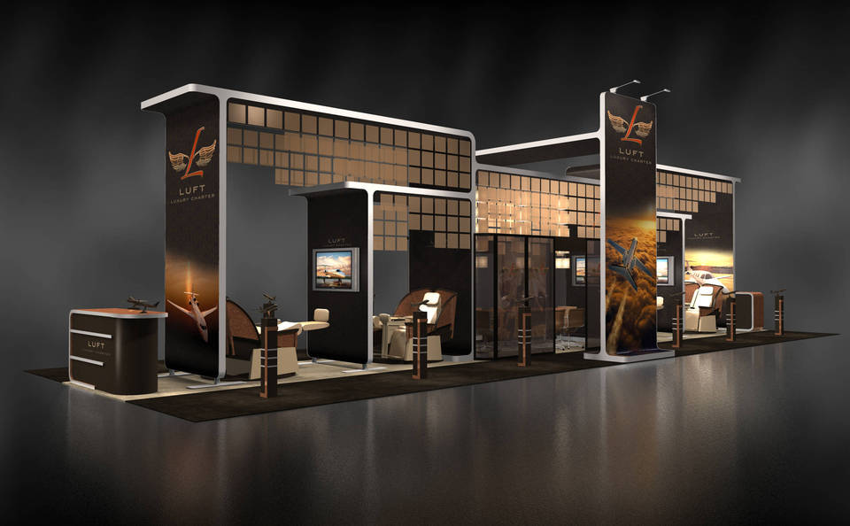 Skyline Los Angeles Luft trade show booth rendering
