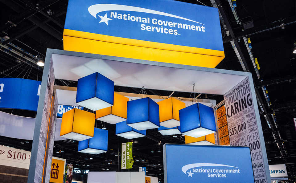 National Government Services 20x20 Island Exhibit Designed and Manufactured by Skyline Metro DC