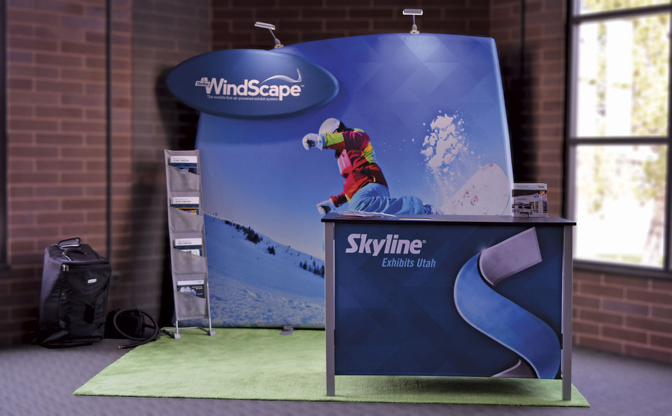 Skyline Exhibits Utah's Easy to set up Inline Inflatable WindScape Trade Show Display
