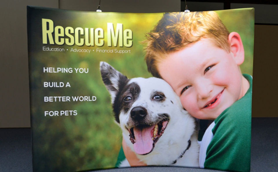 Rescue Me trade show booth graphic