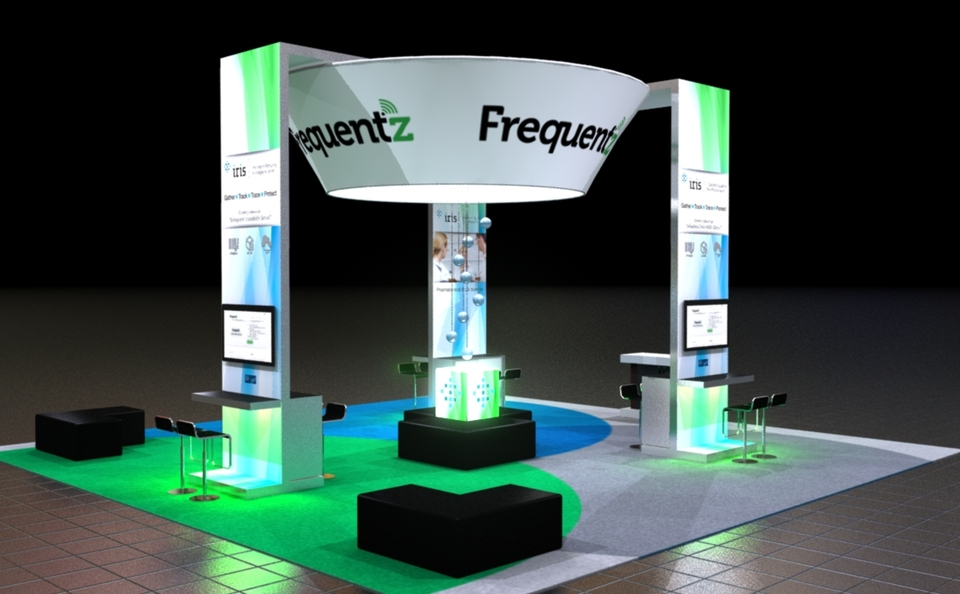 Frequenz island trade show exhibit by Skyline San Diego