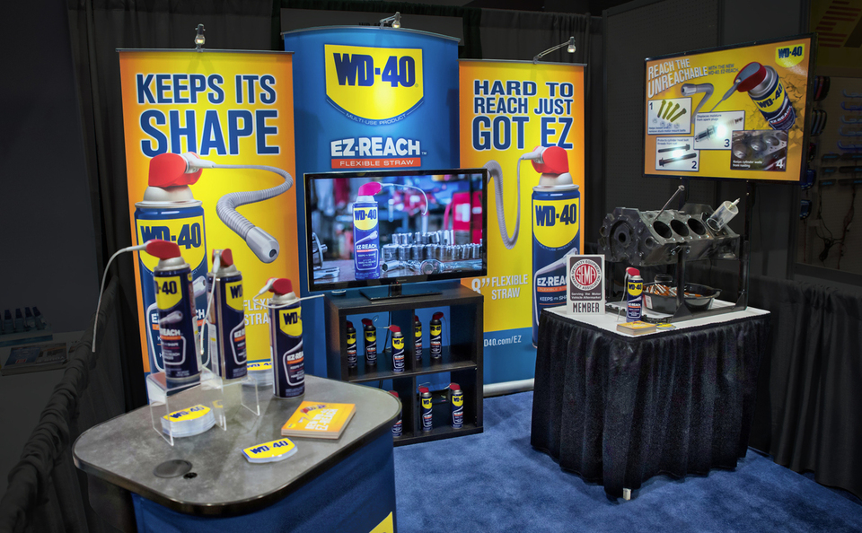 WD-40 banner stand backwall portable trade show display by Skyline San Diego