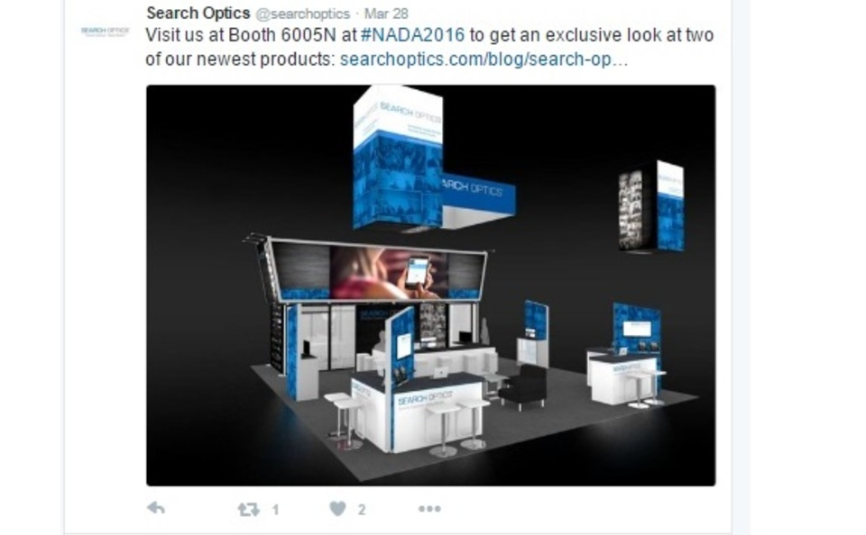Search Optics pre show promotion trade show exhibit design rendering via Twitter