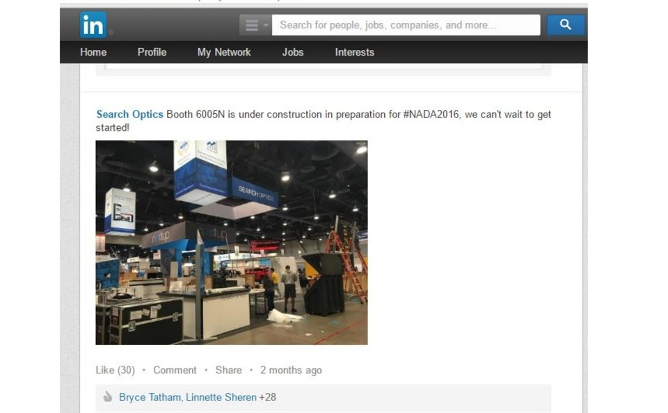 Search Optics pre show promotion trade show displays set up via LinkedIn for NADA 2016