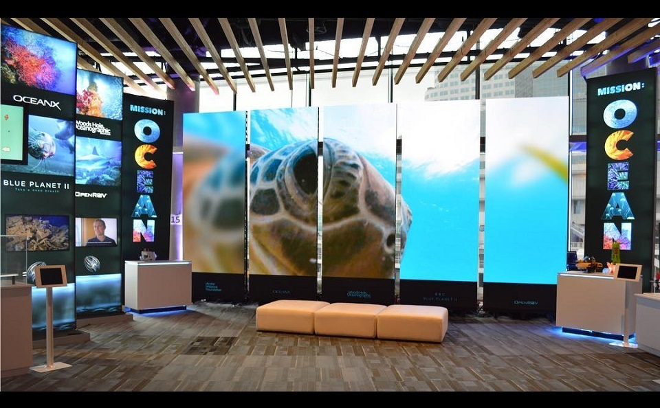 Mission Ocean special event inline exhibit with digital techology
