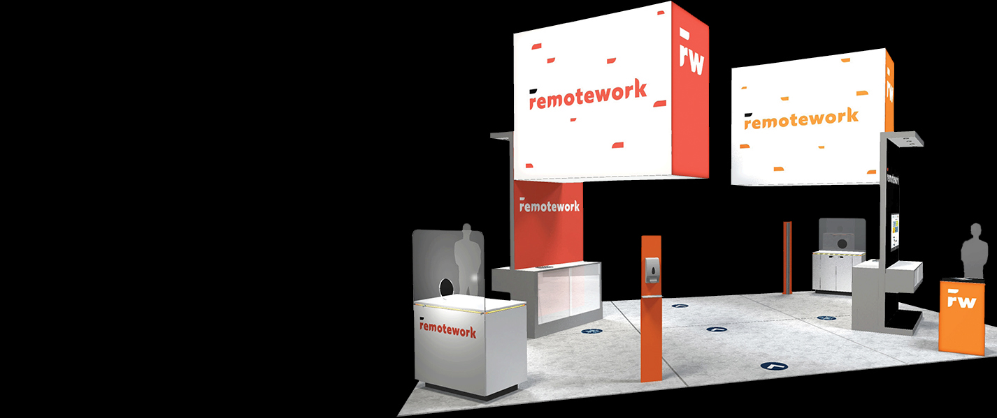 designers display booth exhibit skyline social distance covid-19 space tradeshows
