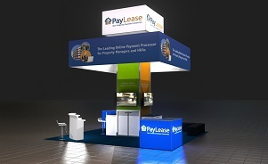 Paylease island trade show exhibit design by Skyline San Diego