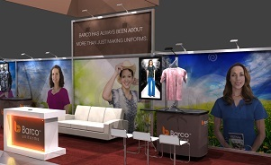 Barco Uniforms 50 foot trade show display by Skyline San Diego