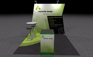Materials Design 10 foot inline trade show display design by Skyline San Diego