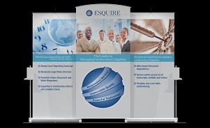 Esquire banner stand backwall portable display design by Skyline San Diego