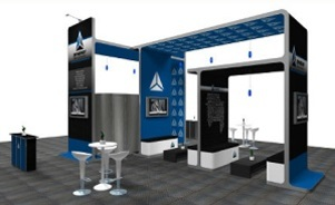 Synergy island trade show booth design by Skyline Exhibits Toronto