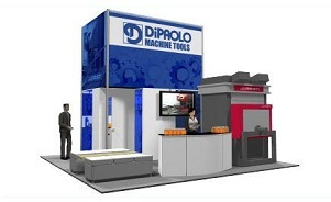 DiPAOLO Machine Tools island trade show exhibit design by Skyline Toronto