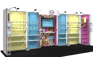 McCalls 20 foot custom modular trade show booth merchandising shelving