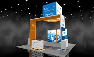 Real Time Networks exhibit design 20 x 20 island trade show display Skyline BC Vancouver Canada