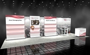 WJ_Packaging exhibit design 20 foot backwall merchandising trade show display Skyline BC