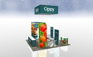 Oppy 20 x 20 island trade show booth Skyline BC