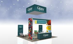 Oppy 20 x 20 custom modular island trade show exhibit Skyline BC Vancouver Canada