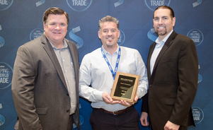 Skyline Philadelphia President Jeff Dobra Being Awarded by Skyline Exhibits President Bill Dierberger and VP of Sales Dave Bouquet
