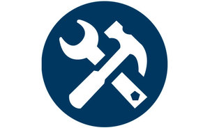 Skyline criss-crossed tools icon