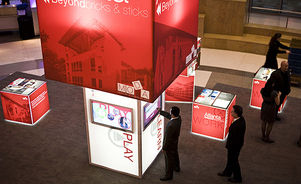 trade show branded environments - towers and cubes