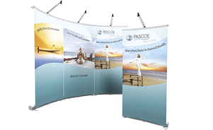 trade show curved retractable banner stand